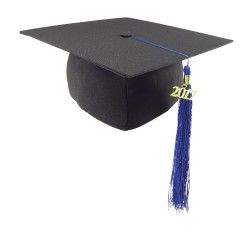 Matná promočná čiapka - modrý strapec
