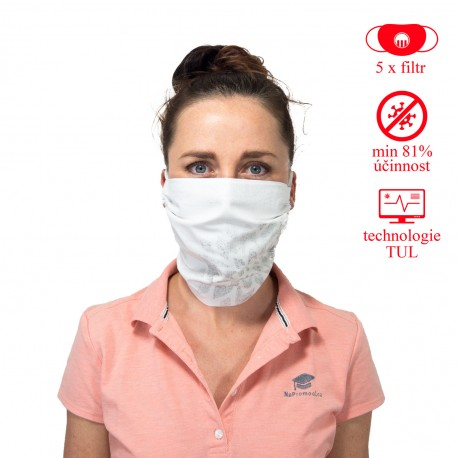 SET: Face mask Mandala I. - white + 5x filter