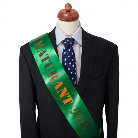 Dark Green Graduation Sash - satin