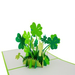 3D greeting card - Four leaf clover for luck