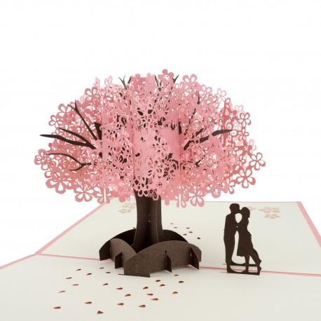 3D greeting card - Couple under sakura tree