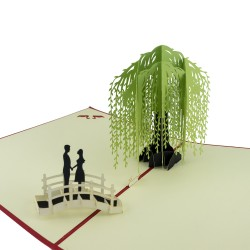 3D greeting card - Couple under a willow tree
