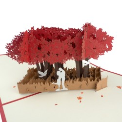 3D greeting card - Couple under a tree