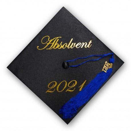 Gold letters on graduation cap