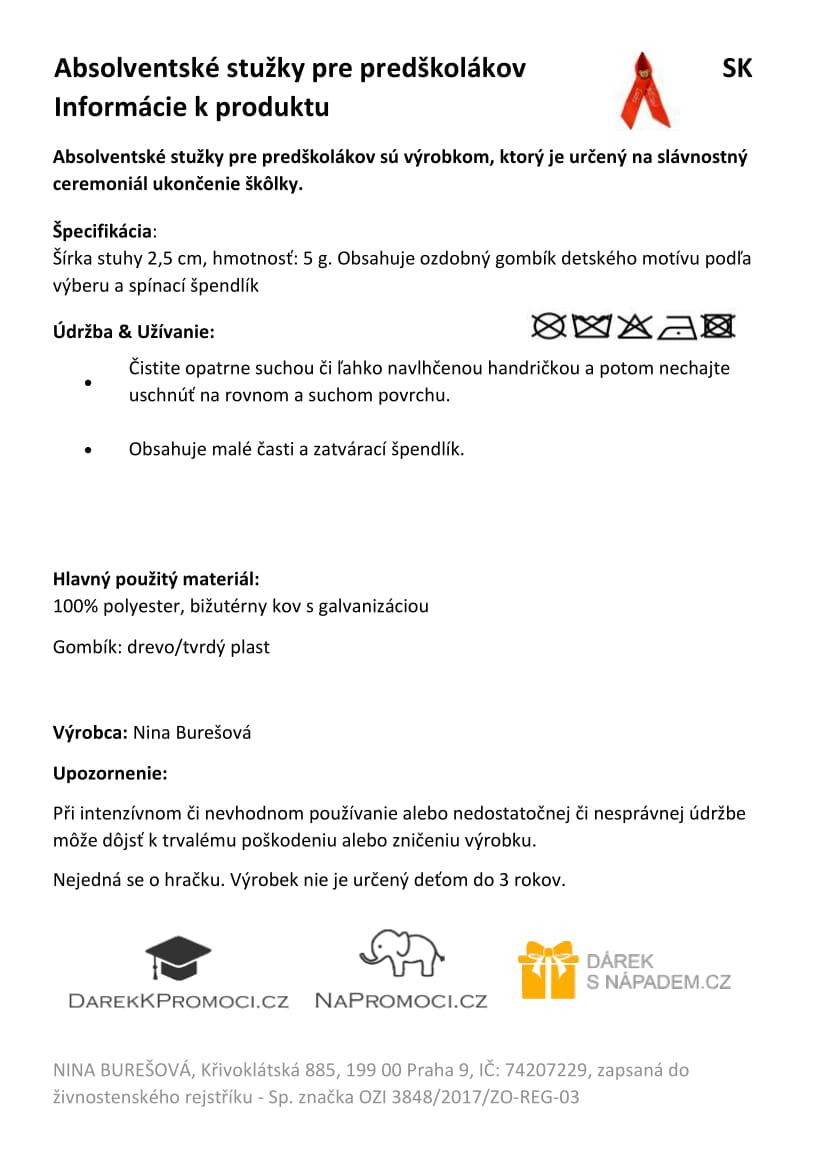 Produktová karta: Absolventské stužky pro předškoláky