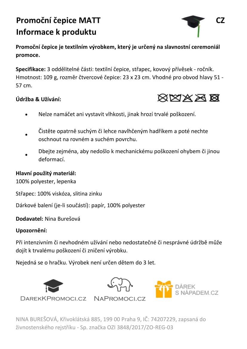 Produktová karta: Studentská čepice