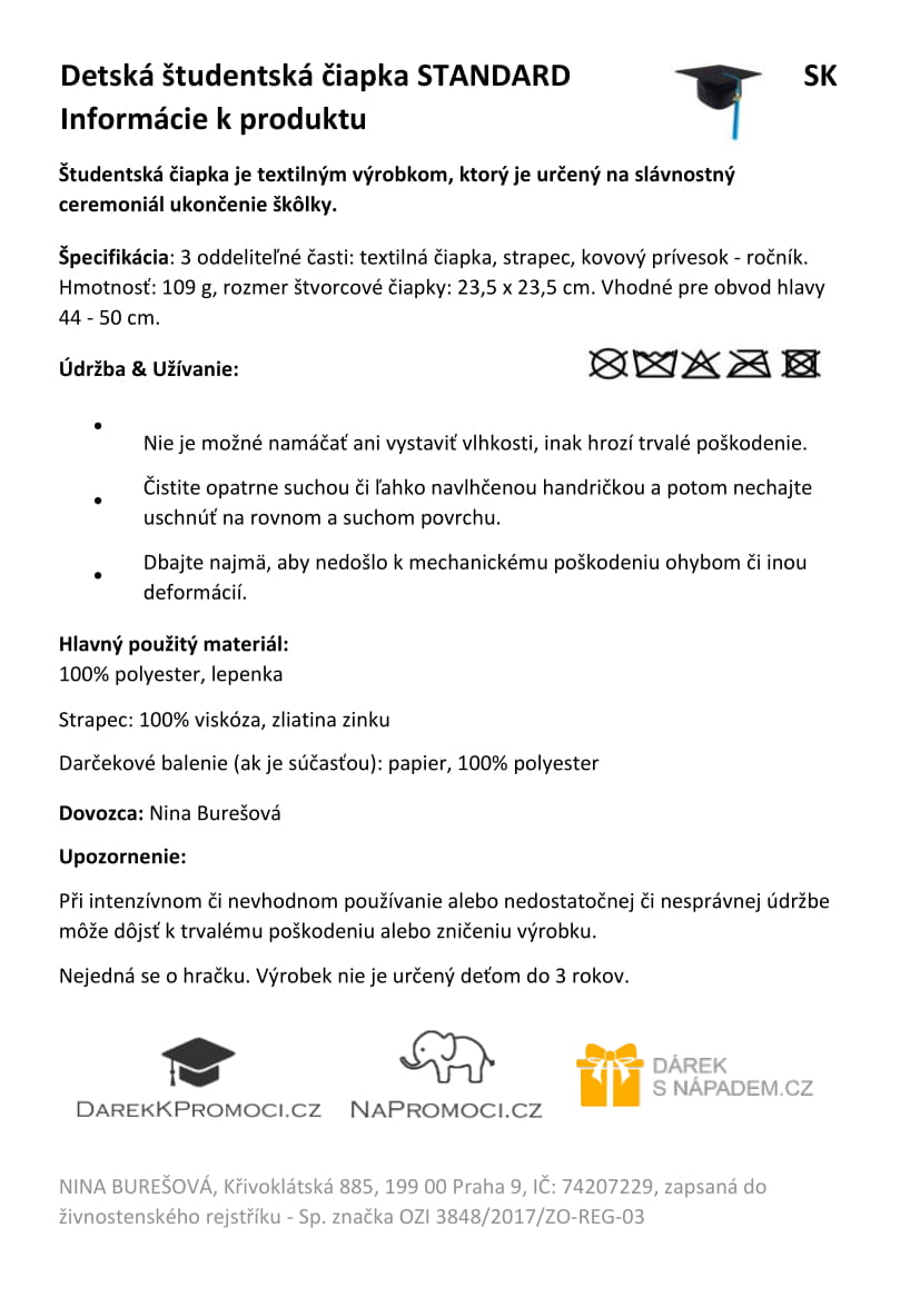 Produktová karta: Detská studentská čiapka