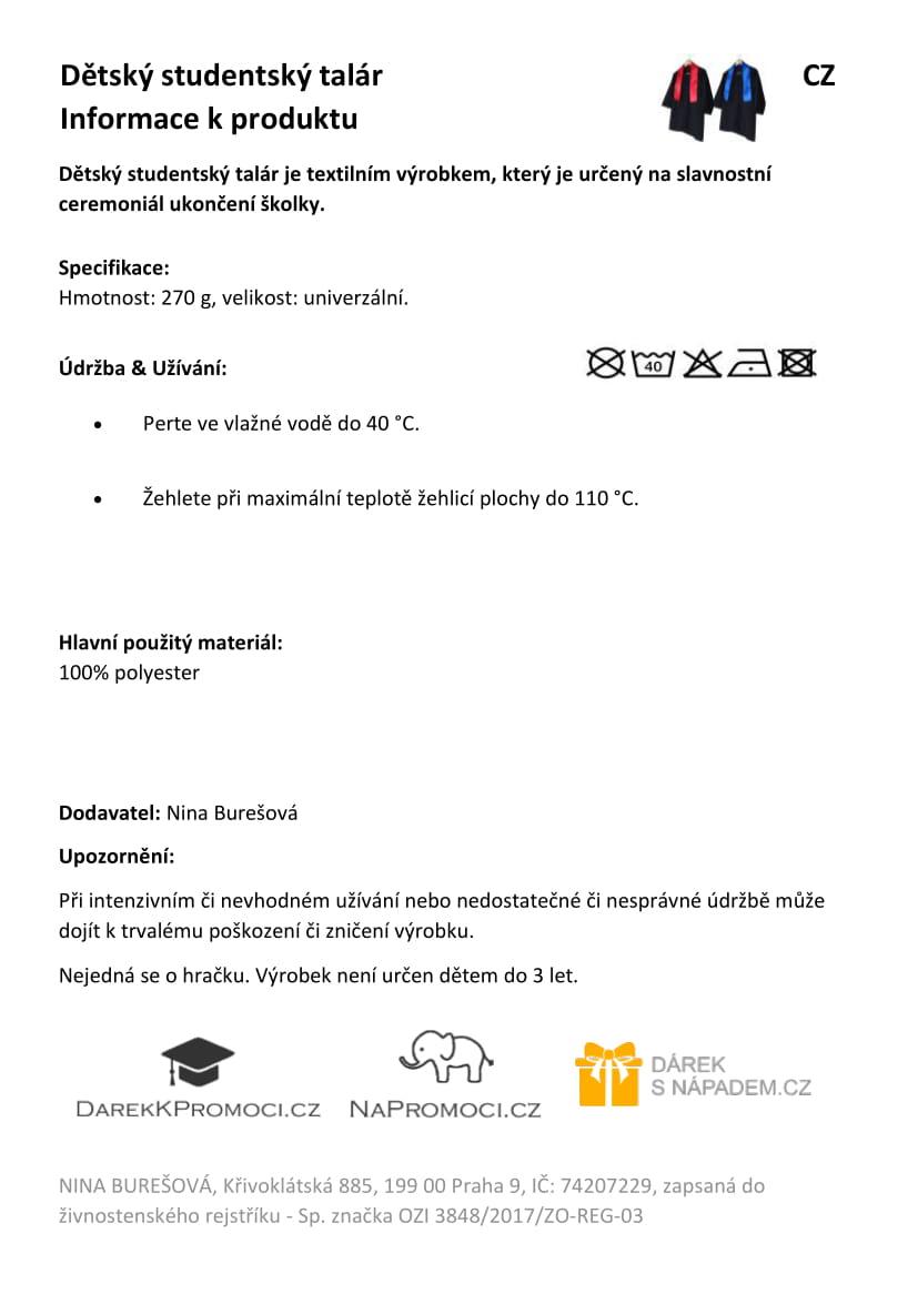 Produktová karta - dětský studentský talár