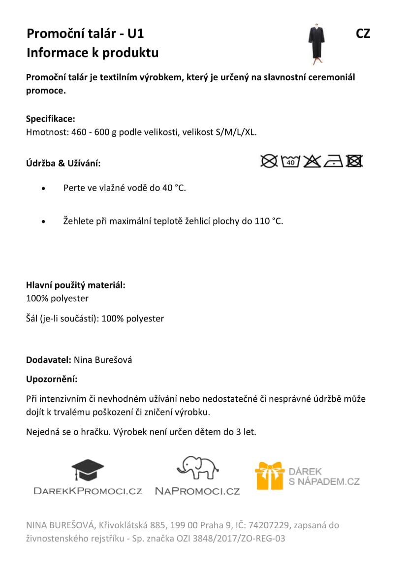 Produktová karta: Studentský talár