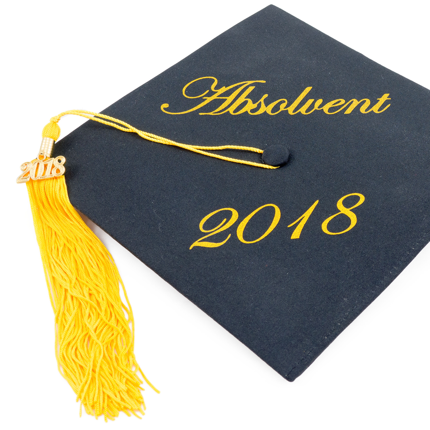 Iron-on inscription on graduation cap