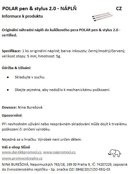 Produktová karta: Polar pen náplň