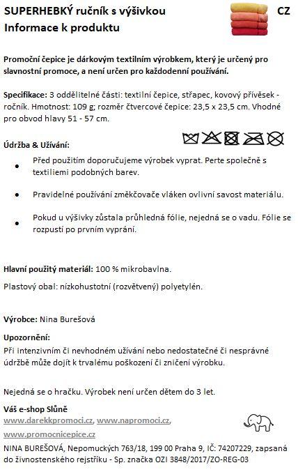 Produktová karta: Ručník z mikrobavlny